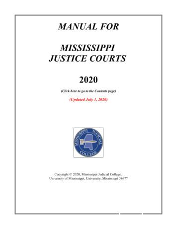 MANUAL FOR MISSISSIPPI JUSTICE COURTS