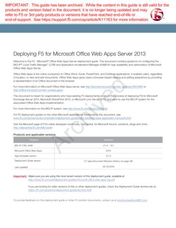 Deploying F5 for Microsoft Office Web Apps Server 2013 .