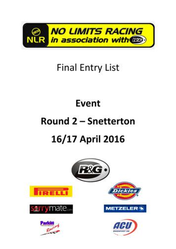 Final Entry List Event Round 2 t Snetterton 16/17 April 2016