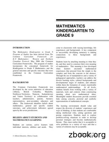 MATHEMATICS KINDERGARTEN TO GRADE 9 - Alberta.ca