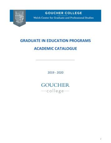 GRADUATE IN EDUCATION PROGRAMS ACADEMIC CATALOGUE