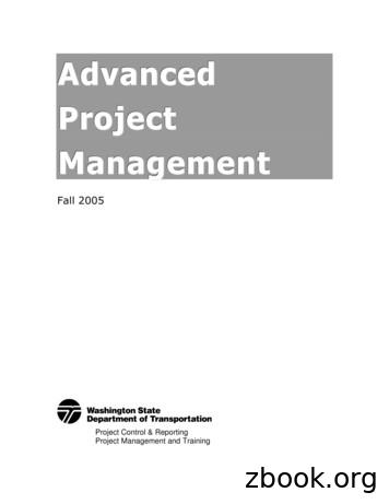 Advanced Project Management workbook - IN.gov