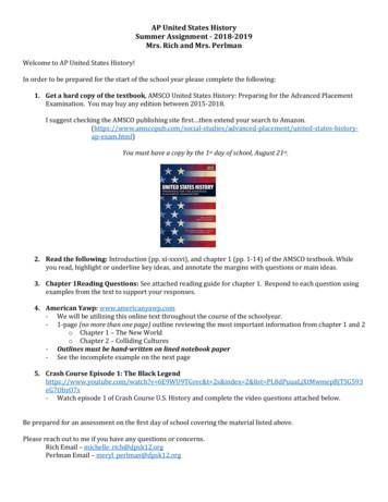 AP United States History Summer Assignment - 2018-2019 Mrs .