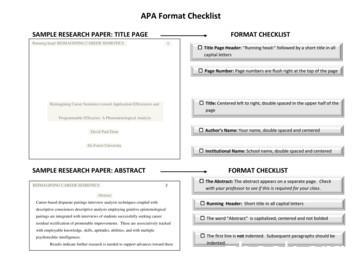 APA Format Checklist - DeVry University