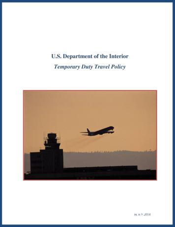 U.S. Department of the Interior Temporary Duty Travel Policy