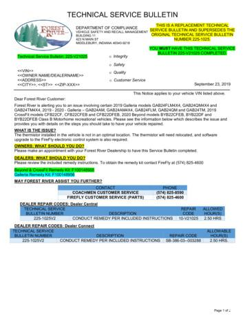 TECHNICAL SERVICE BULLETIN - Forest River