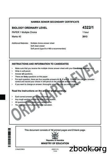 NAMIBIA SENIOR SECONDARY CERTIFICATE BIOLOGY ORDINARY .