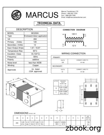 DESCRIPTION CONNECTION DIAGRAM - Marcus Transformer