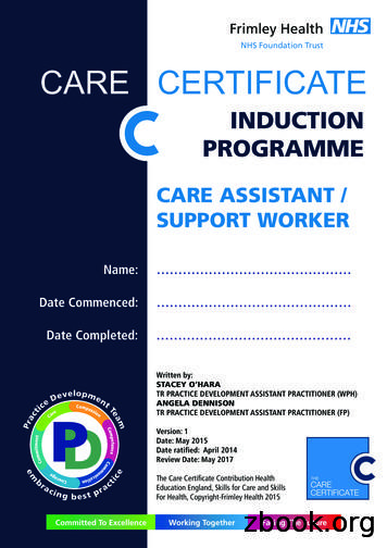 NHS Foundation Trust CARE CERTIFICATE