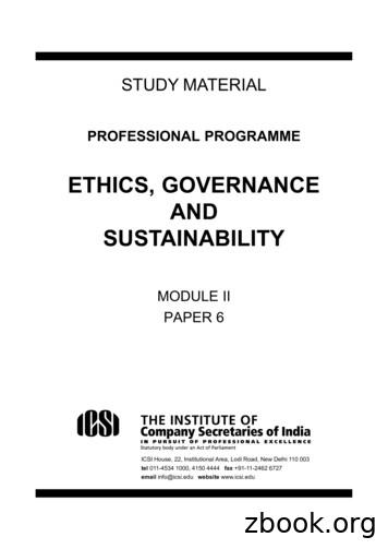 ETHICS, GOVERNANCE AND SUSTAINABILITY
