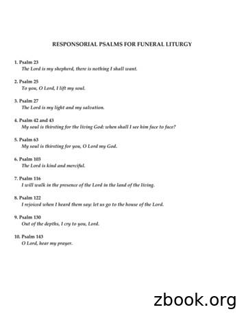 RESPONSORIAL PSALMS FOR FUNERAL LITURGY