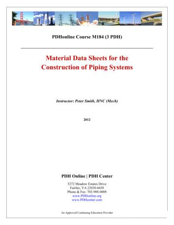 Material Data Sheets for the Construction of Piping Systems