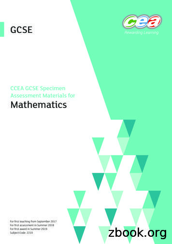 CCEA GCSE Specimen Assessment Materials for Mathematics