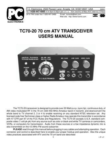 TC70-20 70 cm ATV TRANSCEIVER USERS MANUAL