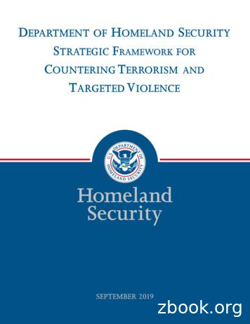 Department of Homeland Security Strategic Framework for .