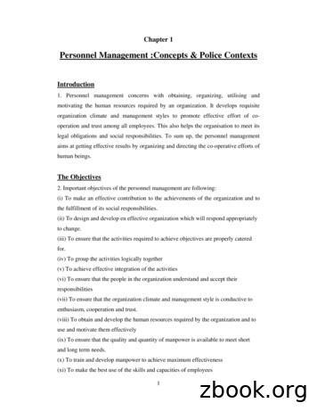 Personnel Management :Concepts & Police Contexts