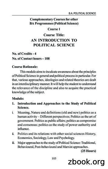 Course Title: AN INTRODUCTION TO POLITICAL SCIENCE