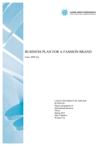 BUSINESS PLAN FOR A FASHION BRAND - Template