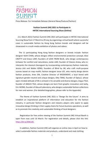 Fashion Summit (HK) 2021 to Participate in HKTDC .