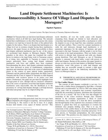 Land Dispute Settlement Machineries: Is Innaccesssibility .