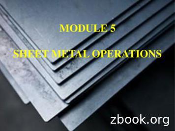 MODULE 5 SHEET METAL OPERATIONS