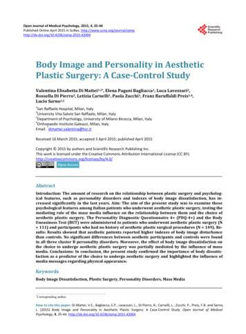 Body Image and Personality in Aesthetic Plastic Surgery: A .