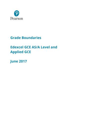 Grade Boundaries Edexcel GCE AS/A Level and Applied GCE .