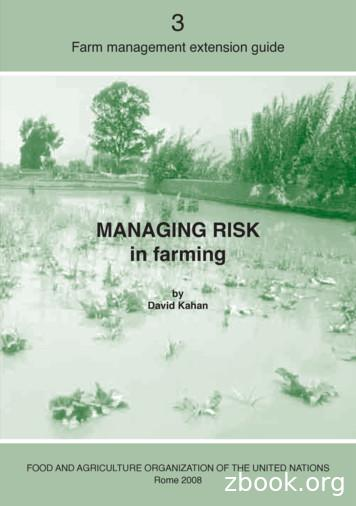 MANAGING RISK in farming - Home Food and Agriculture .