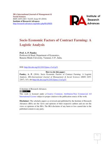 Socio Economic Factors of Contract Farming: A Logistic .