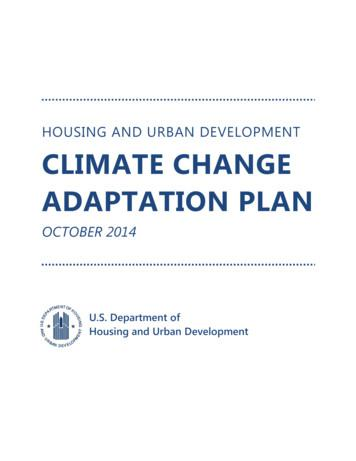 HOUSING AND URBAN DEVELOPMENT CLIMATE CHANGE ADAPTATION PLAN