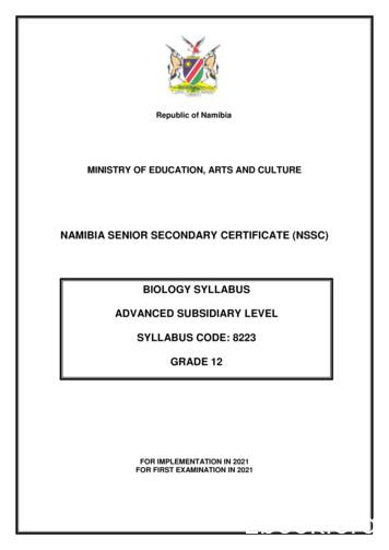 NAMIBIA SENIOR SECONDARY CERTIFICATE (NSSC) BIOLOGY .