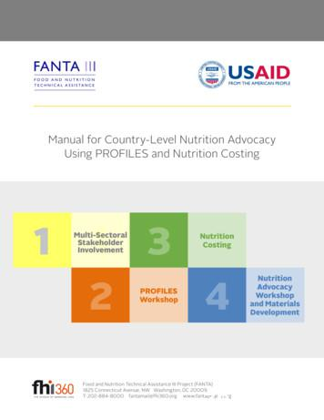 Manual for Country-Level Nutrition Advocacy Using PROFILES .