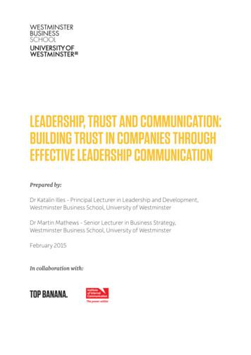 LEADERSHIP, TRUST AND COMMUNICATION: BUILDING TRUST IN .