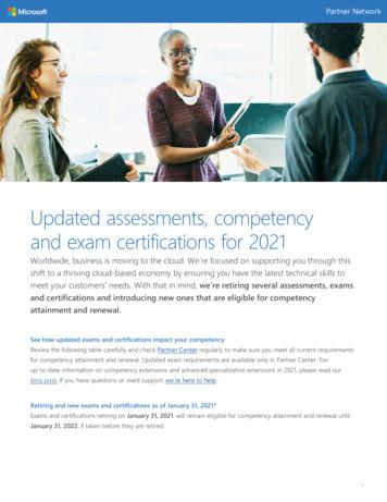 Updated assessments competency exam certifications for 2021