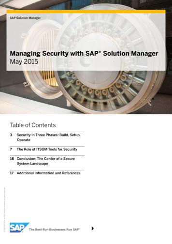 Managing Security with SAP Solution Manager