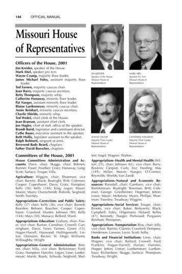 144 OFFICIAL MANUAL Missouri House of Representatives