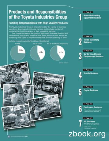 Fulfilling Responsibilities with High . - Toyota Industries