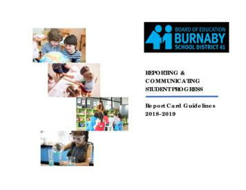 REPORTING & COMMUNICATING STUDENT PROGRESS Report Card .