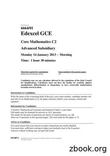Paper Reference(s) Edexcel GCE