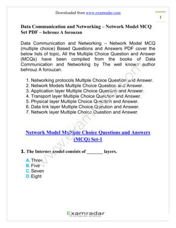 Data Communication and Networking – Network Model MCQ Set .