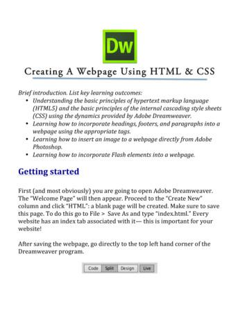 Creating A Webpage Using HTML & CSS