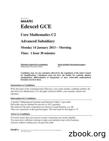 Paper Reference(s) 6664/01 Edexcel GCE