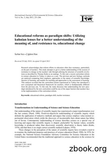 Educational reforms as paradigm shifts: Utilizing kuhnian .