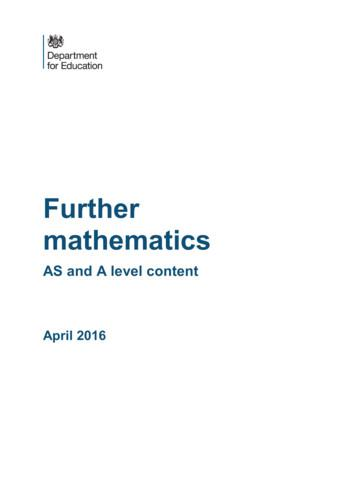 GCE AS and A Level Subject Criteria for Mathematics