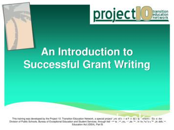 An Introduction to Successful Grant Writing