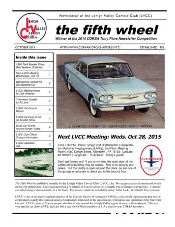 Newsletter of the Lehigh Valley Corvair Club (LVCC) the .