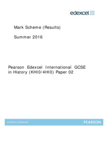 Mark Scheme (Results) Summer 2016 Pearson Edexcel .
