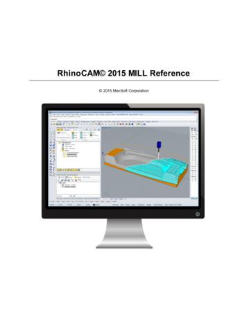 RhinoCAM 2015 MILL Reference - MecSoft Corporation