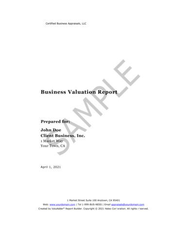 Sample Business Valuation Report - ValuAdder