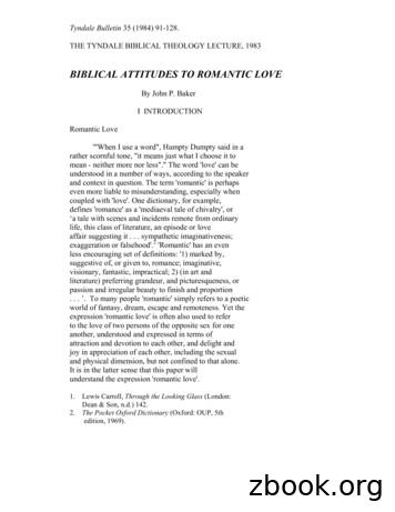 BIBLICAL ATTITUDES TO ROMANTIC LOVE